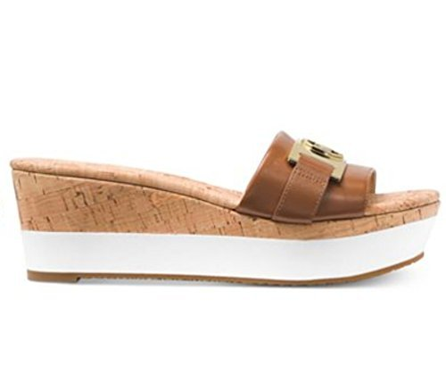 Michael Toe Kors Sandals Open (Michael Kors Michael Womens Warren Platform Open Toe Casual Slide Sandals (8 B(M) US, Luggage Leather))