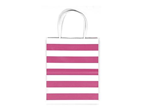 12CT MEDIUM HOT PINK STRIPE BIODEGRADABLE, FOOD SAFE INK & PAPER KRAFT BAG WITH WHITE STURDY HANDLE (Medium, Hot Pink)