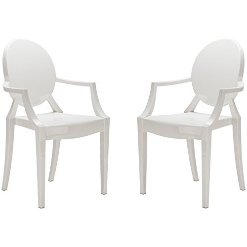 Poly and Bark EM-103-WHI-X2 Ghost Style Dining Armchair, White, Set of (Louis Side Chair)