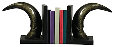 SouvNear Wooden Book Ends in Animal Horn - Handmade Book Organizers Black and Brown - Home Decor / Study Room Accessories - Arts and Crafts / Table Decor / Figurines / for Kids , Women , Men