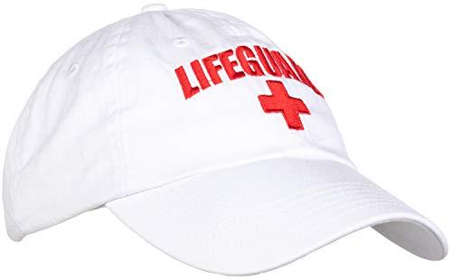 Lifeguard Hat | Professional Guard Red Baseball Cap Men Women Costume Uniform - White ()