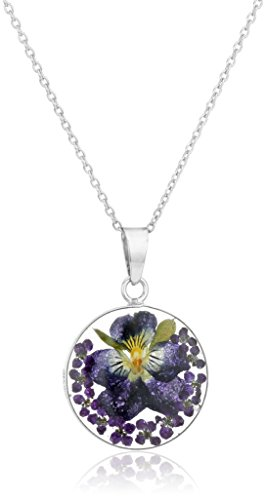 Sterling Silver Dark Blue Pressed Flower Round Pendant Necklace, - Flower Necklace Resin