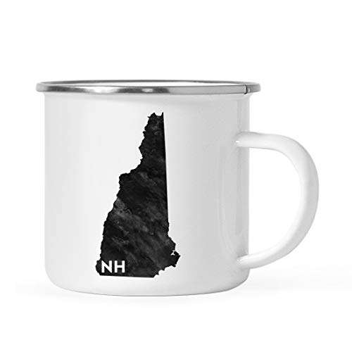 (Andaz Press 11oz. US State Stainless Steel Campfire Coffee Mug Gift, Modern Black Grunge Abbreviation, New Hampshire, 1-Pack, Metal Enamel Camping Camp Cup for Him Her Christmas Hostess Long Distance)