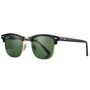 Pro Acme PA3016 Classic Crystal Lens Clubmaster Sunglasses (Black Frame/G15 Lens)