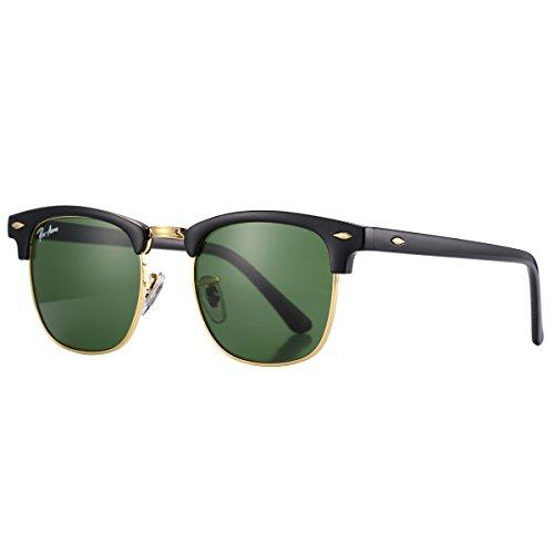 Pro Acme PA3016 Classic Crystal Lens Clubmaster Sunglasses (Black Frame/G15 - Lens Sunglasses Glass