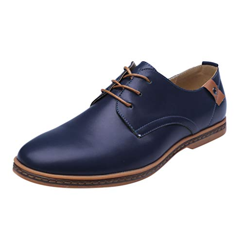 (QBQCBB Men's Fashion Casual Solid Lace Up Leather Wedding Shoes Male Business Shoes(Blue,42))