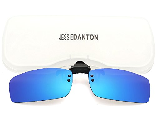 JESSIEDANTON Polarized Clip on Flip Up Sunglasses Mirrored F