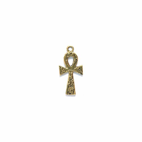 Shipwreck Beads Pewter Egyptian Ankh Cross Charm, Metallic, Antique Gold, 17 by 34mm, 3-Piece