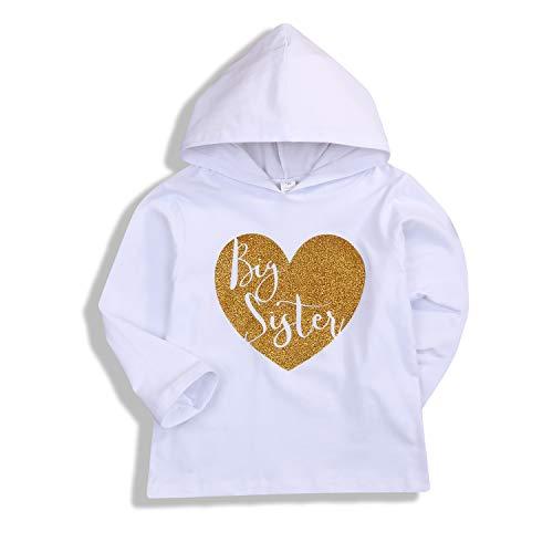 (Treafor Infant Baby Girls Hooded Sweatshirt Kids Sister Matching Hoodie Tops (White,)