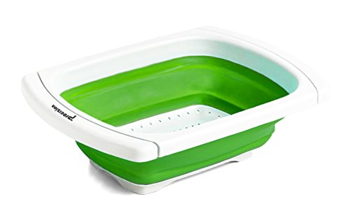 llapsible Colander Over The Sink Strainer Expanding Mesh with Extending Non Slip Handles (Green) (Convertible Slip Tote)