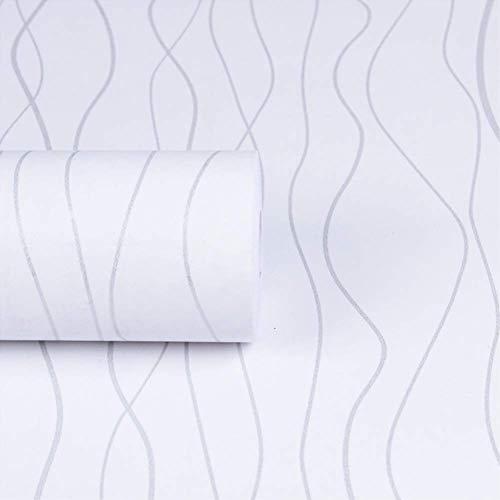 Yija White Wavy Stripes Self-Adhesive Waterproof Wallpaper Shelf Drawer Liner Cabinet Sticker 17.7inch by 98in