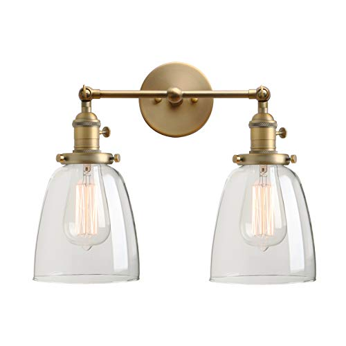 - Permo Double Sconce Vintage Industrial Antique 2-Lights Wall Sconces with Oval Cone Clear Glass Shade (Antique)