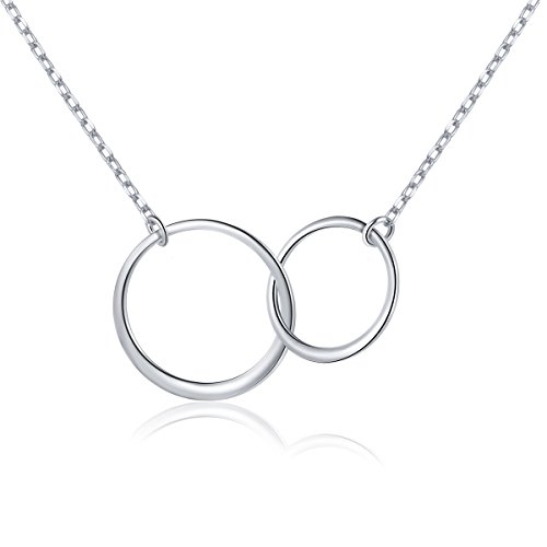 Ladytree S925 Sterling Silver Two Interlocking Infinity Circles Pendant Necklace,Rolo Chain,18+2