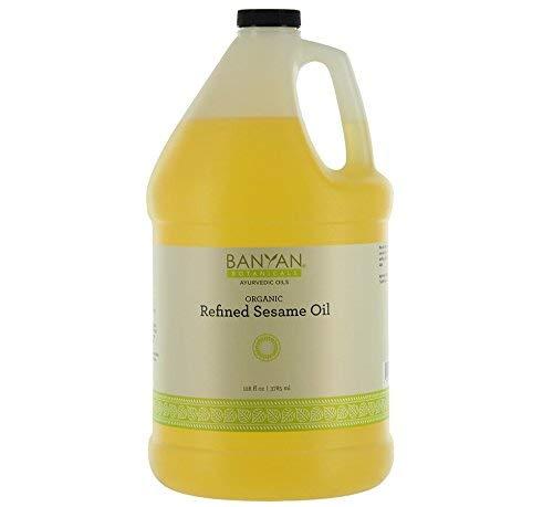 Banyan Botanicals Refined Sesame Oil - USDA Organic, 128 oz - Unscented Traditional Ayurvedic Oil For Massage