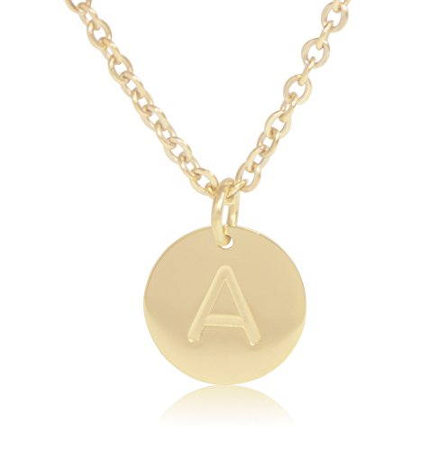 "Wild Flower Jewelry 18K Gold-Plated Round Disc Engraved Initial Pendant 18"" Adjustable Necklace with Personalized Alphabet Letter"