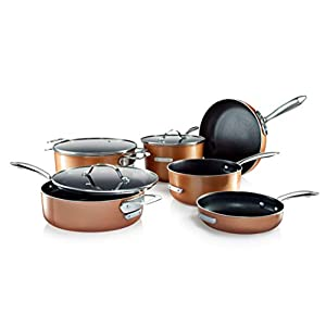 Gotham Steel Stackable Pots and Pans Set – Stackmaster Complete 10 Piece Cookware Set Saves 30% More Space with Ultra Nonstick Cast Texture Ceramic Coating  – Dishwasher Safe