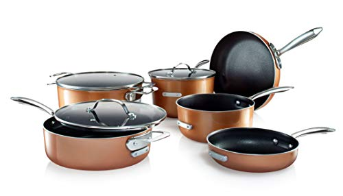 Gotham Steel Stackable Pots and Pans Set - Stackmaster Complete 10 Piece Cookware Set Saves 30% More Space with Ultra Nonstick Cast Texture Ceramic Coating  - Dishwasher Safe