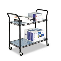 MOT4 Safco Wire Utility Cart, Two-Shelf, 43-3/4w X 19-1/4d X 40-1/2h, Black