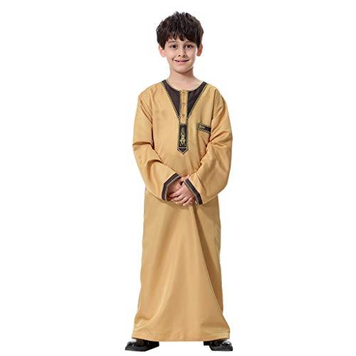 Puro Tunic Giallo Robe Clothes Pulsante Casuale Estate Semplice Manica Colore Lunga polpqed O Ragazzo Islamico Musulmano Etnica collar Saudita WD2IeEH9Y