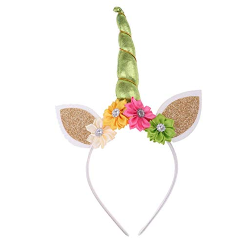 EBTOYS Unicorn Headband with Flowers for Kids Adults Rainbow Birthday Party Favors Dress Cosplay (Light -