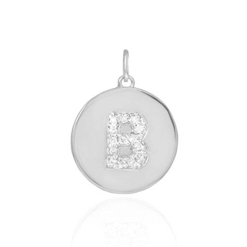 10k White Gold Diamond Charm Disc Initial Letter B Pendant