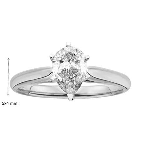GIA Cerified 0.30 Carat Pear Cut Natural Diamond 14K WHite Gold edding Engagament Ring ()