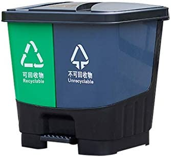 NN ごみ箱 - 商業的な分類、ダブルバレルペダル大規模な広場ホテルの商業屋外衛生カバープラスチックゴミ缶緑+灰色35L 45L 軽量 (サイズ さいず : 35l)