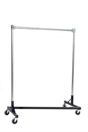 48 in. Single Rail Heavy Duty Z-Rack Garment Rack in Black by Quality Fabricators