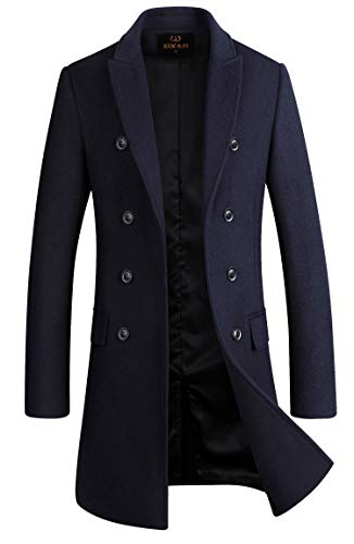 Men's Premium Wool Blend Double Breasted Long Pea Coat (Navy Blue, Small)