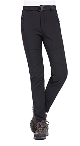 Geval Women's Outdoor Windproof Waterproof Softshell Fleece Snow pants (XS,Black)