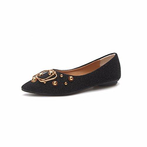 YUCH Solo Zapatos De Mujeres Consejos Boca Superficial Plana Guisantes Casual Zapatos blackfk