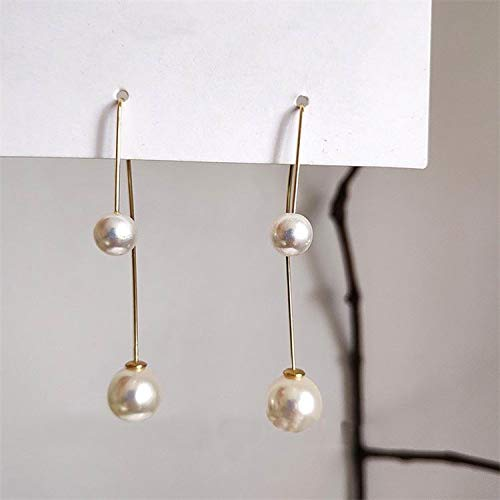 Korean Big Small Simulated Pearl Beads Simple Drop Earrings   Fashion Dangle Earrings for ()