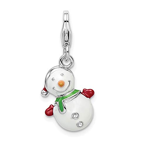 (925 Sterling Silver Rh Enameled Swarovski 3d Snowman Lobster Clasp Pendant Charm Necklace Holiday Winter Fine Jewelry Gifts For Women For)