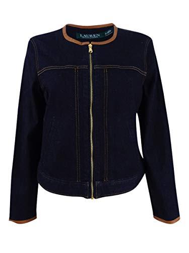 - Lauren Ralph Lauren Womens Leather Trim Long Sleeves Denim Jacket Navy L