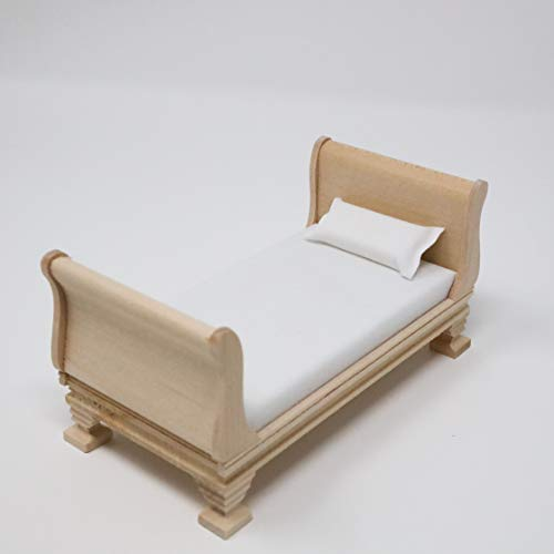 Dollhouse Miniature Unfinished Sleigh Bed with Mattress Miniature Sleigh Bed Dollhouse Bed 1:12 Scale Furniture