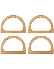 Hacbop 4PCS D-Shaped Wooden Purse Handles, Wood Replacement Handles for DIY Bag Purse Handbags Clutch Making (Wood)