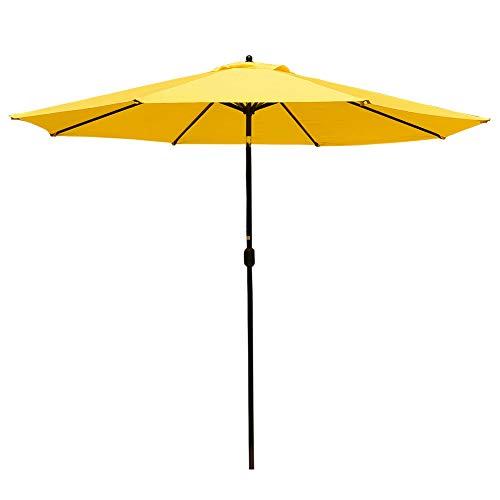 t Aluminum Patio Umbrella Table Market Umbrella with Crank and Push Button Tilt for Graden, Deck, Backyard, Pool, 8 Steel Ribs, Polyester Canopy (Yellow) ()