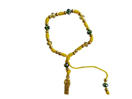 Yellow Thread with Cristal Beads Saint Jude Bracelet Pulsera De San Judas Tadeo