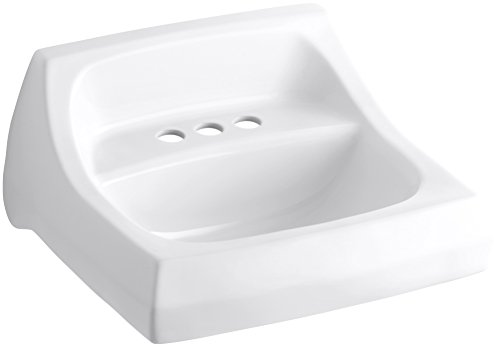 Kohler 2005-0 Vitreous china Wall Mounted Square Bathroom Sink, 19.5 x 14.625 x 22.5 inches, White