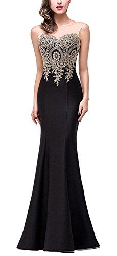 SHUNLIU Vestidos de Fiesta Largos Vestido Encaje de Mujer Elegantes de Noche Detrás de Perspectiva Hueco Negro
