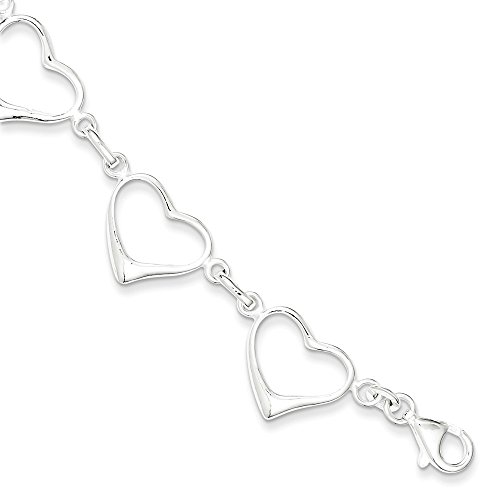 (Sterling Silver Polished Fancy Hearts Link Bracelet With Lobster Clasp Length 7 Inch)