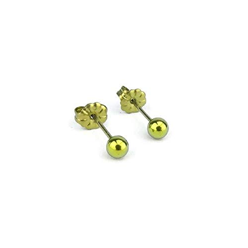 Ball Titanium 6mm Earrings (3mm, 4mm, 5mm and 6mm Titanium Ball Stud Earrings for Sensitive Ears in Multiple Colors (Gold 4mm))