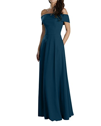 Partykleider Abendkleider Kleider Fuer mia Brautjungfernkleider Ballkleider Blau La Jugendweihe Satin Hochzeits Lang Brau Elegant Dunkel aqWzwAp0