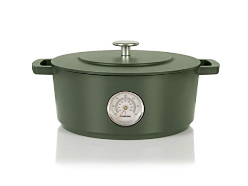 Combekk RAILWAY Recycled Enameled Cast Iron 4.25 Quart Dutch Oven w/ Thermometer, Green, 9.5""