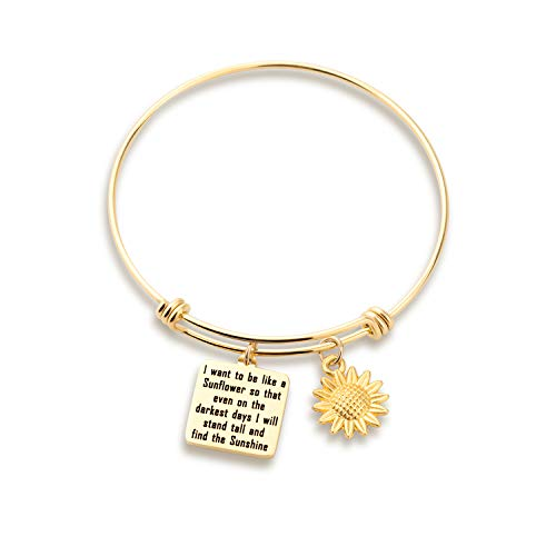 KUIYAI Sunflower Charm Bracelet I Want to be Like a Sunflower Floral Bangle (Gold Sunflower Bracelet)