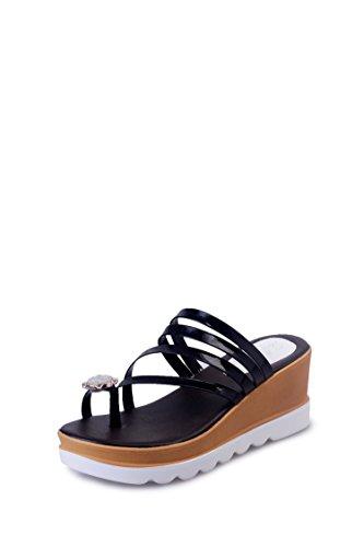 CU@EY Frauen Flip-flops Keilabsatz Sandalette Strass, 39, Schwarz
