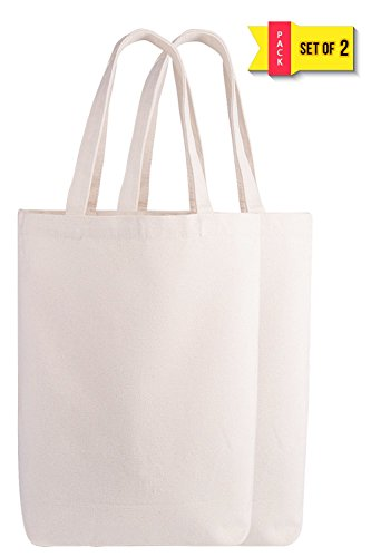 - Natural Canvas Tote Bags Reusable Grocery Bag Washable Canvas Bag for crafting (Natural - 2 Pack)