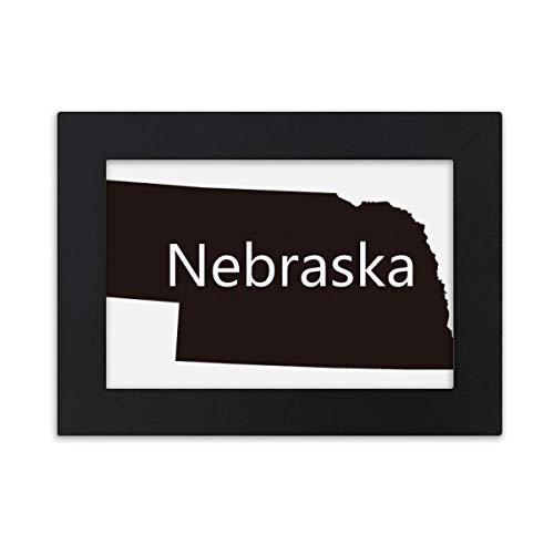 DIYthinker Nebraska America USA Map Silhouette Desktop Photo Frame Black Picture Art Painting 5x7 inch