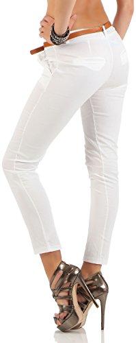 Avec Pantalon pantalon 5388 Malito Blanc Femme Similicuir corsaire Chino Ceinture En aRwqqpZFx
