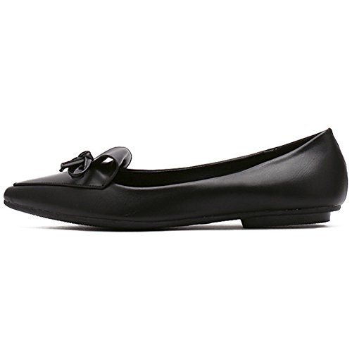 QZUnique Womens Closed Pointed Toe Bows Sweet Cute Lovely Casual Dress Flats Black 9eL0dWad1